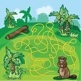 Labyrinth maze for kids. Help the beaver find a way - game vector illustration Royalty Free Stock Images