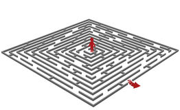 Labyrinth/maze with a man in center Stock Image
