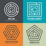 Labyrinth, maze shape logo design vector set. Labyrinth, maze shape logo design set. Rebus logic, game search mystery. Vector illustration Royalty Free Stock Photos