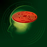 Labyrinth Mind. Human head psychology symbol. Vector Illustration Royalty Free Stock Photography