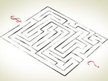 Labyrinth mit Frage Lizenzfreie Stockfotos