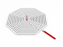 Labyrinth mit rotem Pfeil Stockbilder
