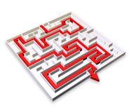 Labyrinth mit rotem Pfeil Solution-3d Stockfoto