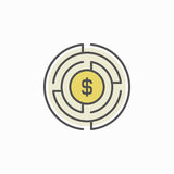 Labyrinth with money icon. Vector maze with a dollar inside colorful concept symbol or design element Royalty Free Stock Image