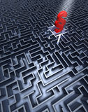 Labyrinth and paragraph. Labyrinth in grey with a red paragraph in the center Royalty Free Stock Image
