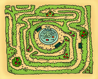 Labyrinth park. A labyrinth garden, with a fountain in the middle. Digital illustration Royalty Free Stock Photography