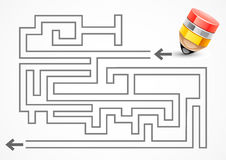 Labyrinth with pencil. On white background Royalty Free Stock Photos