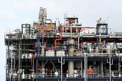 Labyrinth of pipelines. Petrochemical, plant in Rotterdam Europoort Royalty Free Stock Images
