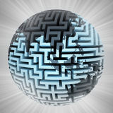 Labyrinth planet shape focused on asia with flare Royalty Free Stock Photos