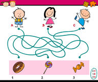 Labyrinth puzzle educational task. Cartoon Illustration of Education Paths or Maze Puzzle Task for Preschoolers with Children and Sweets Royalty Free Stock Photography