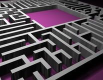 Labyrinth puzzle solution. Labyrinth. 3D render of Labyrinth. Network of paths in a maze. Puzzle concept for finding a solution stock photo