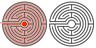 Labyrinth puzzle and the solution Stock Photography