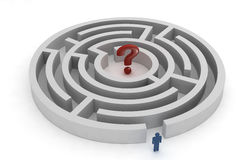 Labyrinth question mark. Round labyrinth with human figure and question mark, isolated on white Stock Photography