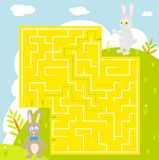 Labyrinth with rabbit with answer. find correct way. Cartoon vector with editable layers. easter maze Royalty Free Stock Photos