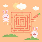 Labyrinth rabbit with carrot Stock Photography