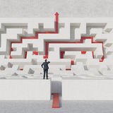 Labyrinth with red arrow Royalty Free Stock Images