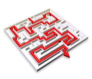 Labyrinth with Red Arrow Solution-3d Stock Photo