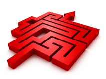 Labyrinth red arrow on white background Royalty Free Stock Images