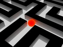 Labyrinth and red  ball, 3D images Stock Images