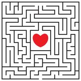Labyrinth with red heart. Find the way to the heart. Find your love. Happy Valentine`s day card. Vector illustration stock illustration