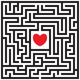 Labyrinth with red heart. Find the way to the heart. Find your love. Happy Valentine`s day card. Vector illustration vector illustration