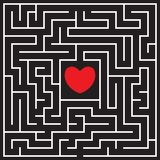 Labyrinth with red heart. Find the way to the heart. Find your love. Happy Valentine`s day card. Vector illustration royalty free illustration