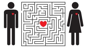 Labyrinth with red heart. Silhouettes of man and woman. Find your love. Find the way. Relationship. Happy Valentine`s day card. Vector illustration stock illustration