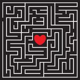 Labyrinth with red heart. And two enters. Find your love. Find the way. Relationship. Happy Valentine`s day card. Vector illustration stock illustration