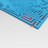 Labyrinth. Rendering of a labyrinth with a red arrow inside Stock Photos