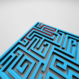 Labyrinth. Rendering of a labyrinth with a red arrow inside Royalty Free Stock Photos