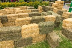Labyrinth from the set of haystacks outdoors Royalty Free Stock Photography