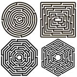 labyrinth. Set of 4 maze / labyrinth on white background, illustration of educational kids game, for children books and leisure, with solution Royalty Free Stock Photography