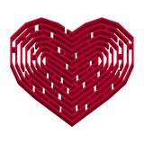 Labyrinth in a shape of heart. Vector illustration of red labyrinth in a shape of heart, love symbol,  on white Royalty Free Stock Photos