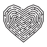 Labyrinth in a shape of heart. Vector labyrinth in a shape of heart, love symbol,  on white Royalty Free Stock Photos