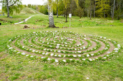 Labyrinth. Small ancient stone labyrinth at Anundshog, Sweden Stock Images