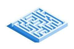 Labyrinth, square maze icon. Isometric template for web design in flat 3D style. Vector illustration