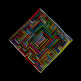 Labyrinth square, sketch for your design Stock Images
