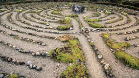 Labyrinth of stone. Old labyrinth meditation maze of stone Stock Image