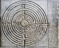 Labyrinth. Stone labyrinth out of the cathedral of lucca Italy Stock Photo