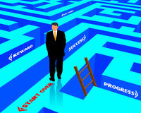 Labyrinth of success. Illustration of life and work acchievements through metaphor of labyrinth leading to different values, and man starting over if unable to stock illustration