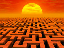 Labyrinth at sunset Stock Photos