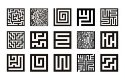 Labyrinth symbol collection. Maze icon set vector royalty free illustration