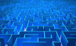 Labyrinth. Top view of a blue maze Royalty Free Stock Photo