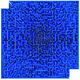 Labyrinth. Top view of a blue maze isolated on white background Stock Image