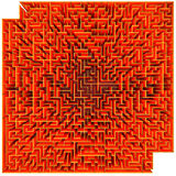 Labyrinth. Top view of a orange maze isolated on white background Royalty Free Stock Images