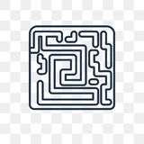 Labyrinth vector icon isolated on transparent background, linear vector illustration