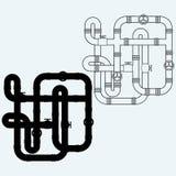 Labyrinth von Metallrohren, Kanalisation Stockbild