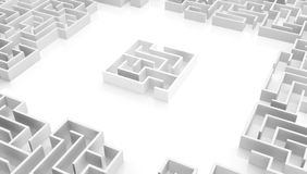 Labyrinth White Small Square Center. 3d illustration abstract, horizontal royalty free illustration