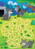 Labyrinthe 29 avec des loups Photographie stock