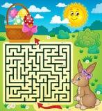 Labyrinthe 3 avec le lapin de Pâques et le panier d'oeufs Image libre de droits